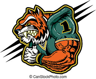 tiger football mascot with big muscles and jersey