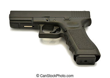 Glock automatic handgun pistol on white background