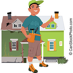 Renovate a house - Smiling man giving a thumb up in front of...