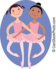 Little ballerinas - Two cartoon little girls dancing a...