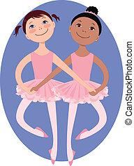 Little ballerinas - Two cartoon little girls dancing a...