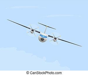 Turboprop airplane in flight.