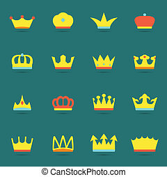 Crown icon set - Ornamental imperial classical monarch...