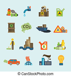 Pollution icon set - Radioactive nucleus waste and batteries...