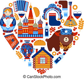 Russia travel heart set with traditional national elements...