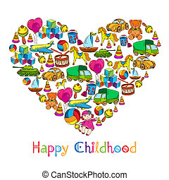 Toys heart happy childhood - Vintage sketch colored kids...