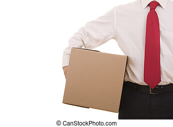 Delivery - Business man holding a cardboard box isolated on...