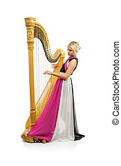 Woman with harp - Elegant woman in purple dress playing the...