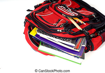 Red School Backpack - A red school backpack full of school...