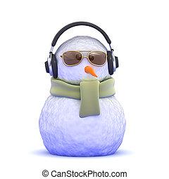 3d Snowman wearing headphones - 3d render of a snowman...