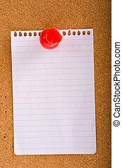 Note on Bulletin board - a blank note on a bulletin board...