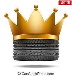 Realistic rubber tire with a golden crown. Vector...
