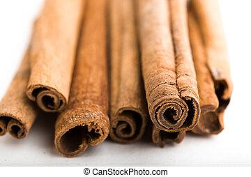 cinnamon sticks - several cinnamon sticks on a white...