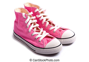 Pink Basketball Shoes - A pair of pink vintage styled canvas...