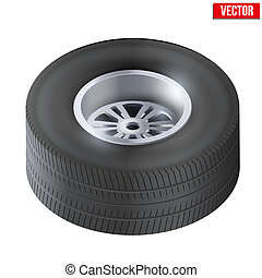Tire and wheel of car. Top view. Vector Illustration