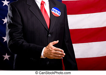 Politician Shaking Hands - A politician in a blue suit and...