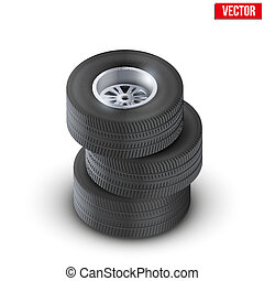 Set Tires and wheels of car. Top view. Vector Illustration