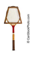 Vintage Tennis Racket - A vintage tennis racket on a white...