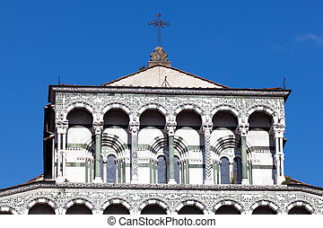 Details of the facade of the San Martino Cathedral in Lucca,...