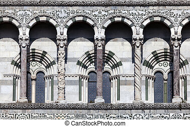 San Martino Cathedral in Lucca - Details of the facade of...