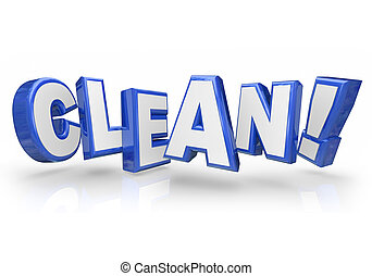 Clean 3d Blue Word Letters Safe Cleanliness - Clean word in...