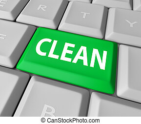 Clean Word Green Computer Keyboard Button Safe Website Anti...