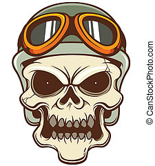 Skull - Vector illustration of Skull wearing helmet