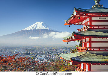 Mt Fuji, Japan viewed from Chureito Pagoda in the autumn