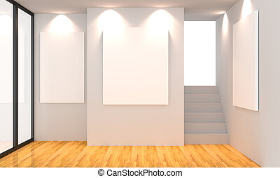 gallery white - Empty room interior with white canvas on...