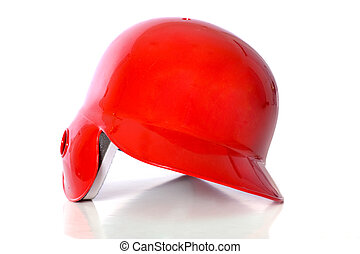 Red Baseball Helmet - Red baseball helmeton white background...