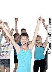 Cheering teens with isolated background - Young women and...