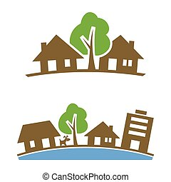 Neighborhood Icon - Vector icon of suburban silhouette for...