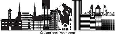 Portland Oregon Skyline Black and White Illustration -...