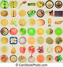 Retro look Food collage isolated