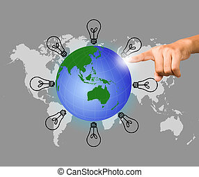 business ideas selecting business icon and man hand