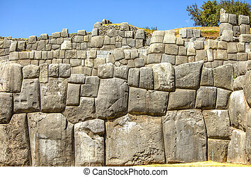 Inca wall of perfectly fitting mega stones - Sacsayhuaman...