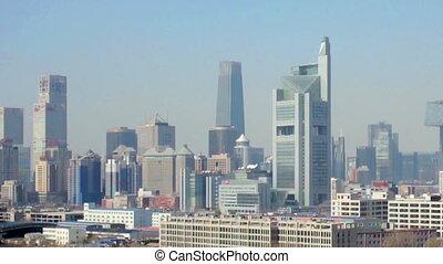 The panorama view of Guomao CBD at daytime, Beijing, China