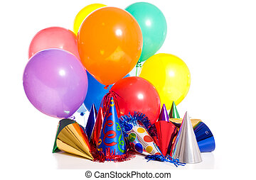 Birthday Party - Birthday party background with party hats,...