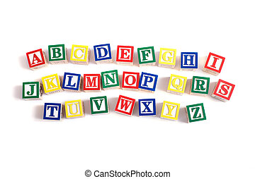 Alphabet Blocks - A child\'s alphabet blocks on a white...