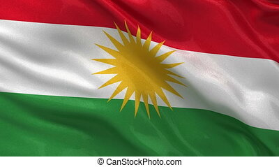 Flag of Kurdistan seamless loop - Flag of Kurdistan gently...