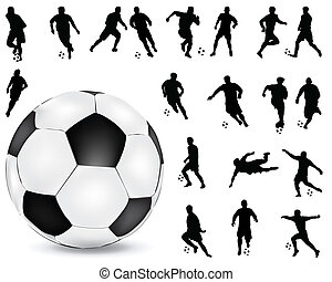 football players 2 - Black silhouettes of football players,...