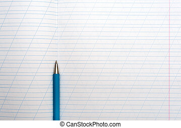 Close up of blank notebook paper with ball pen