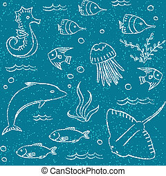 Sealife hand drawn seamless pattern - Hand drawn seamless...