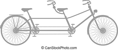 Retro tandem bicycle in grey design on white background
