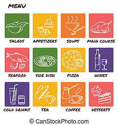 Hand drawn menu elements set
