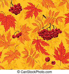 Vector Autumnal seamless background with leaf and ashberry