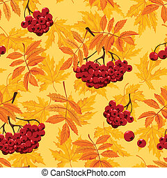 Seamless pattern with autumn leaves and ashberry. Vector...