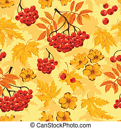 Autumn seamless pattern with leaves, flowers and ashberry....