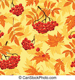 Autumn seamless pattern with leaves and ashberry. Vector...