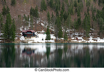 Lake of Fusine with the hut on the shore - fantastic Lake of...